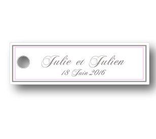 étiquette dragées mariage rectangulaire de couleur blanche avec et décoré d'un contour de couleur avec les prénoms des mariés
