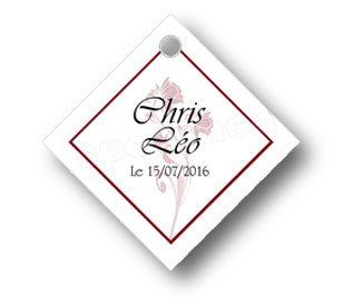 étiquette à dragées mariage en forme de losange illustrée de deux rose en fondu et agrémentée d'un contour de couleur