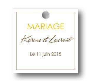 etiquette dragées mariage personnalisée carre sobre avec les prénoms des mariés