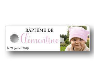 étiquette dragées baptême - étiquette dragées décorée de la photo de votre enfant