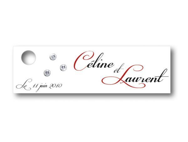 étiquette dragées mariage décorée de petits strass