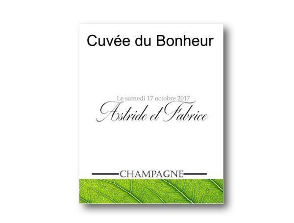 étiquette bouteille mariage vin avec les prénoms des mariés sur le thème verdure