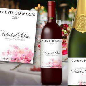 étiquette bouteille mariage vin et champagne illustrée d'une aquarelle de pétales de roses