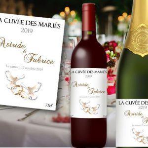 etiquette bouteille champagne et vin mariage à personnaliser illustrées de deux colombes