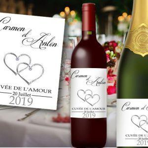 etiquette bouteille mariage illustrée de deux cœur couleur argent