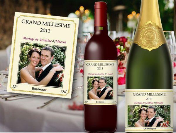 etiquette bouteille mariage illustrée vin et champagne de la photo des jeunes mariés