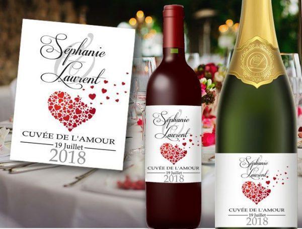 étiquettes bouteille mariage vin et champagne cœurs envolés illustré avec les prénoms des mariés