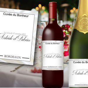 étiquette bouteille mariage sur le thème soie, étiquette vin et champagne