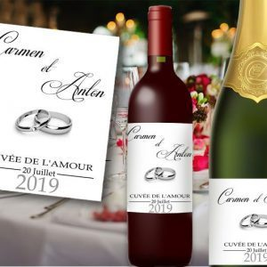 etiquette bouteille champagne et vin mariage a personnaliser illustrées de jolies alliances