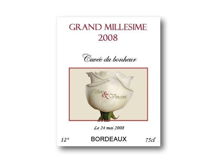 etiquette bouteille mariage vin et champagne illustrée d'une roses blanche