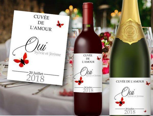 etiquette bouteille champagne et vin mariage a personnaliser sur le thème papillons