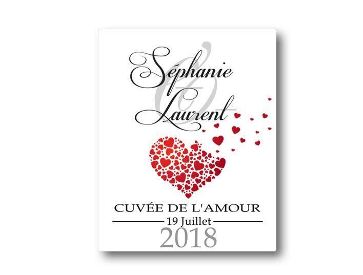 étiquettes bouteille mariage vin cœurs envolés illustré avec les prénoms des mariés
