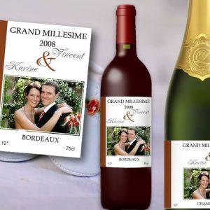 etiquette bouteille mariage vin et champagne providence