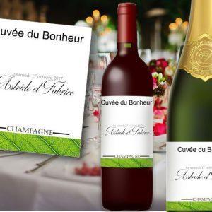 étiquette bouteille mariage vin et champagne avec les prénoms des mariés sur le thème verdure