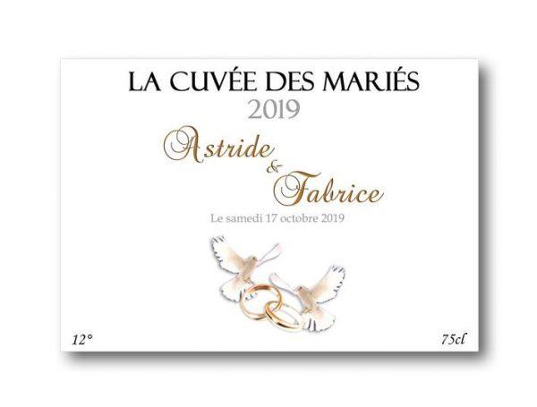 etiquette bouteille champagne mariage à personnaliser illustrées de deux colombes