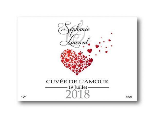 étiquettes bouteille mariage champagne cœurs envolés illustré avec les prénoms des mariés