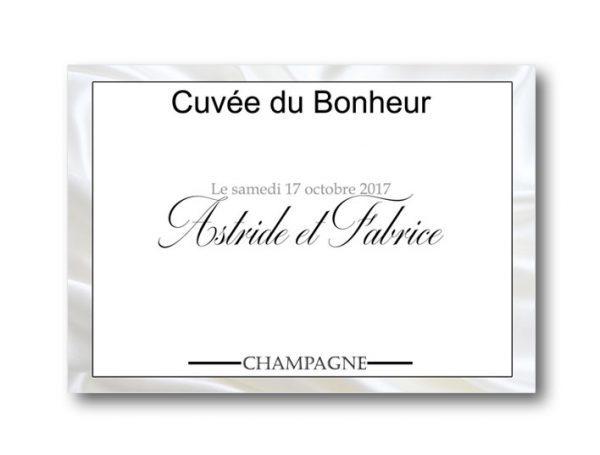 étiquette bouteille mariage champagne sur le thème de la soie
