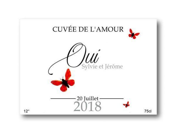 etiquette bouteille champagne mariage a personnaliser sur le thème papillons