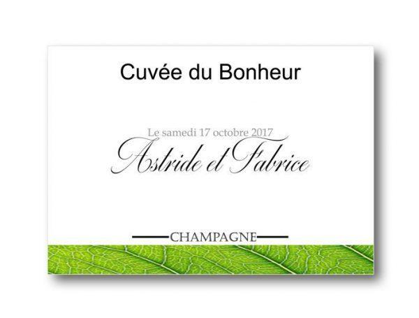 étiquette bouteille mariage champagne avec les prénoms des mariés sur le thème verdure