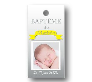 Etiquette dragées rectangulaire baptême Matteo
