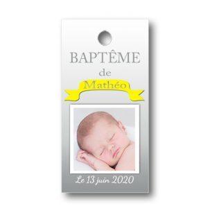 Etiquette dragées personnalisée rectangulaire baptême Matteo