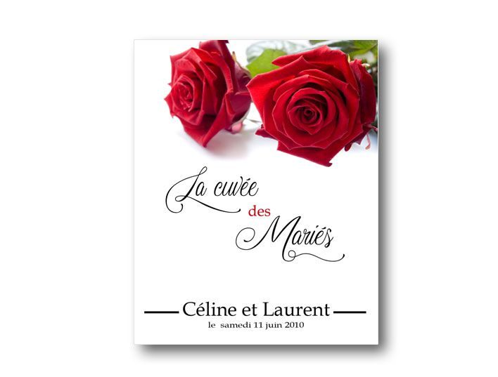 etiquette bouteille mariage illustrée de deux jolie roses rouge