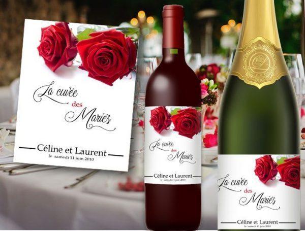 etiquette bouteille mariage champagne et vin illustrée de deux jolie roses rouge