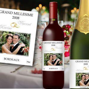 etiquette bouteille champagne et vin mariage thème alliances avec le portrait des mariés