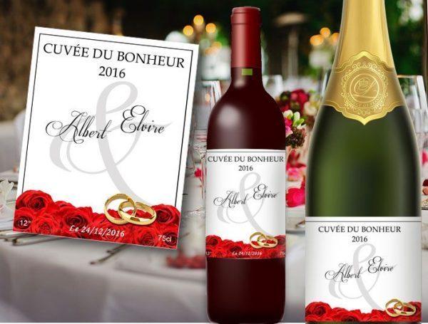 étiquette bouteille mariage champagne et vin illustrée d'un tapis de roses rouge