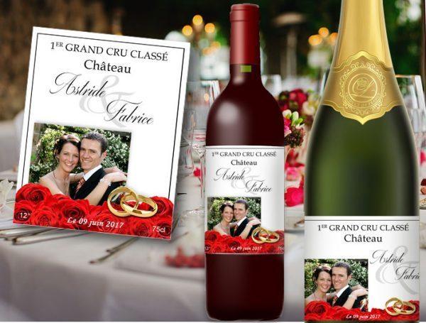etiquette-bouteille-mariage-champagne et vin personnalisée-avec-photo-portrait-jardin-fleuri