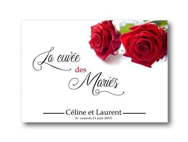 etiquette bouteille mariage champagne illustrée de deux jolie roses rouge