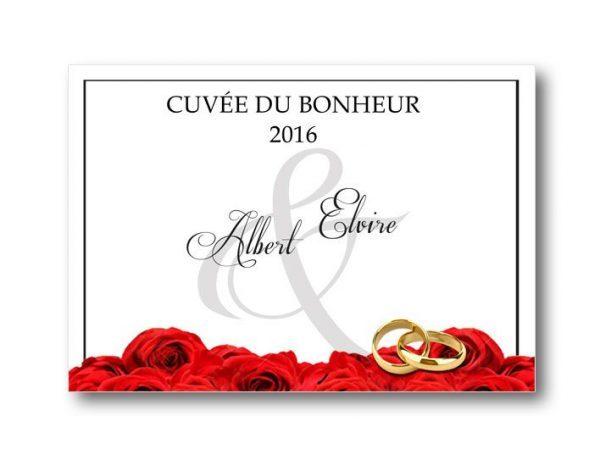 étiquette bouteille mariage champagne illustrée d'un tapis de roses rouge