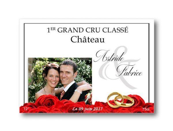 etiquette-bouteille-mariage-personnalisée-avec-photo-portrait-jardin-fleuri
