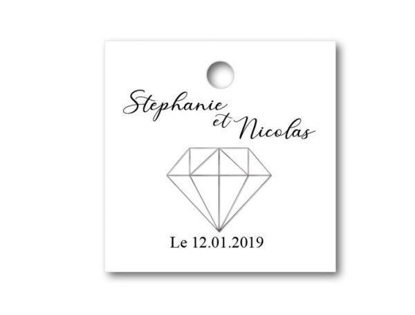 magnifique étiquette dragées mariage blanche sur le thème diamant de forme carré