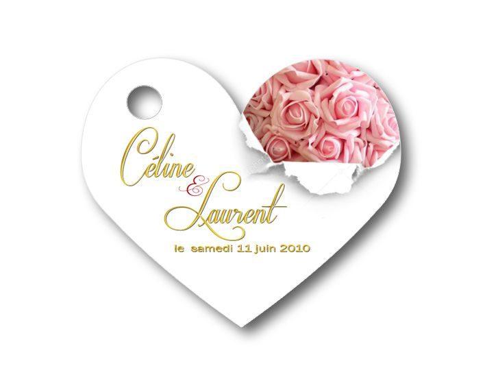Etiquette dragées personnalisées - illustrées avec des roses rose