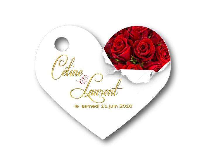 Etiquette dragées mariage - illustrées avec des roses rouge
