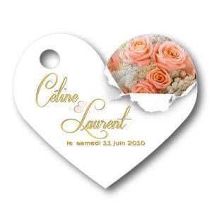 Etiquette dragées mariage personnalisées - illustrées avec des roses saumon