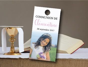 étiquette dragées communion rectangulaire avec la photo du communiant