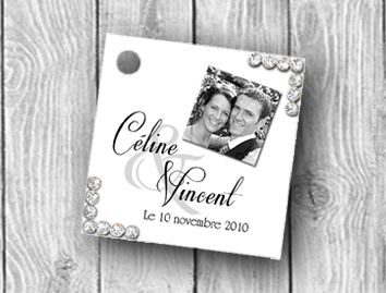 étiquette dragées personnalisées avec votre photo et de petits strass pour votre mariage
