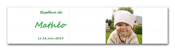 Habillage pour boite à dragées baptême personnalisée avec photo et texte référence mathéo