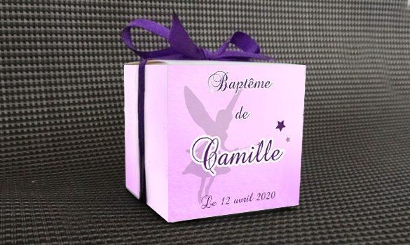 contenant à dragées baptême - boite personnalisée avec le prénom et la date décorée d'une petite fée
