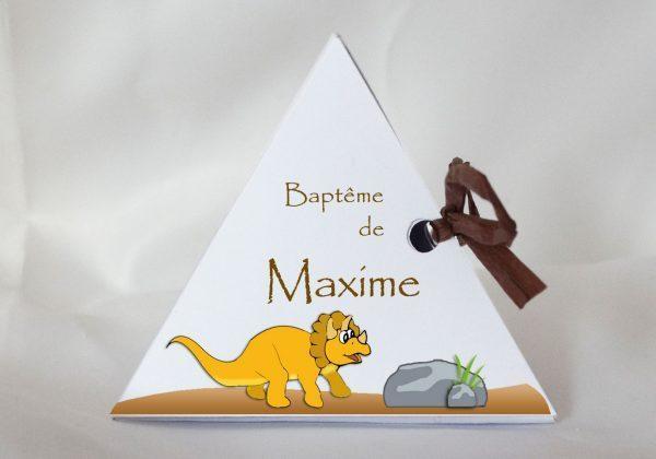 dinosaure boite a dragees pyramide bapteme