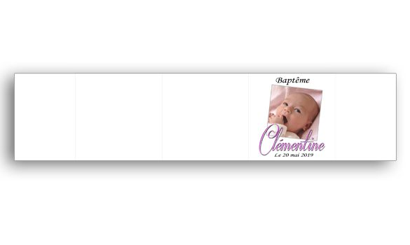 Habillage pour boite à dragées baptême personnalisée avec photo et texte référence Clémentine