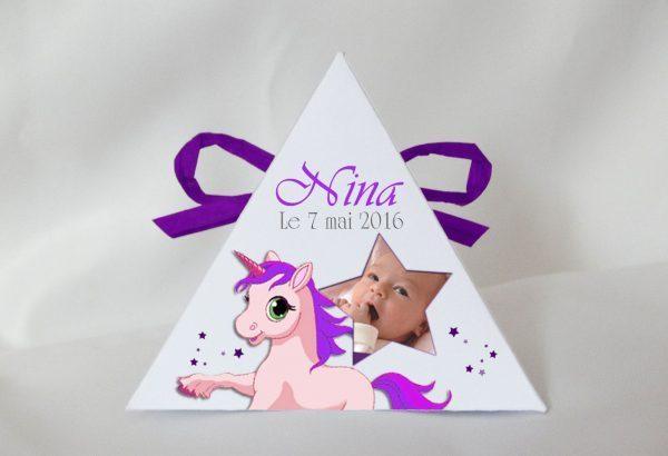 licorne personnaliser votre boite a dragees pyramide bapteme avec une photo