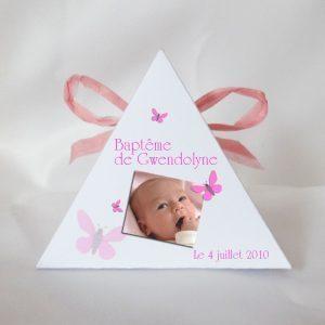nos boites a dragees pyramide sur le theme papillons avec photo