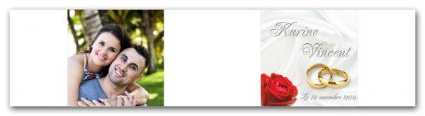 habillage boite a dragees mariage theme avec une rose et deux alliance de mariage