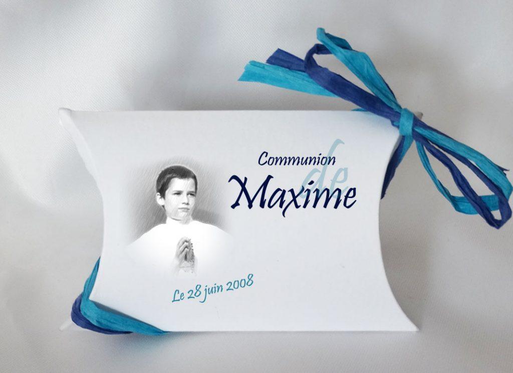 boite a dragees communion rectangle realisee en fusain avec une photo de votre enfant